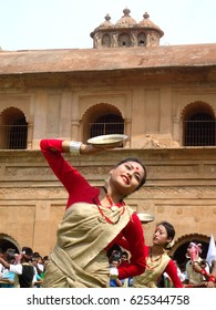 14th April 2014, Artists perform Bihu dance at the historic Rang Ghar premises during Rongali Bihu celebrations in Sivasagar, Assam, India