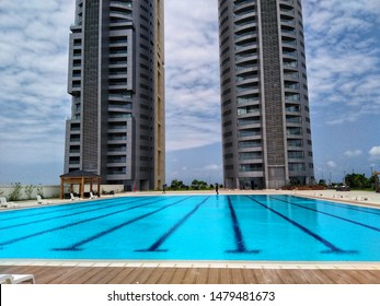 14th August 2019, Eko Atlantic City, Victoria Island, Lagos, Nigeria. The cityscape of prominent high-rise buildings which includes Eko pearl and construction site in Lagos, Nigeria.
