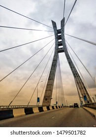 14th August 2019, Lekki, Lagos, Nigeria. Portrait view of Lekki - Ikoyi link Bridge.
