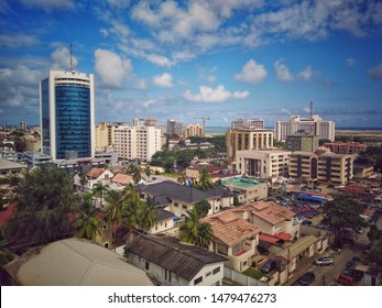 14th August 2019, Victoria Island, Lagos, Nigeria. The cityscape of prominent high-rise buildings which includes Eko Hotels and Suites on Ademola Adetokunbo Street, Lagos, Nigeria.