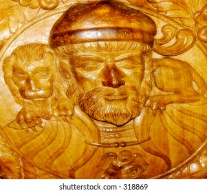 14th century  royal woodcarving