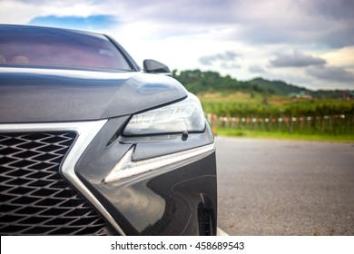 14th July 2016 Chonburi province in east of Thailand : beautiful L shape turn signal light the unique sign of japanese luxury Lexus car in brand new Lexus nx 300h