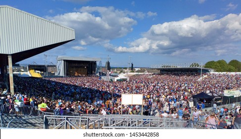 14th July 2019, Kilkenny, Ireland. The crowd at the Bob Dylan and Neil Young concert in Nowlan Park, Kilkenny.