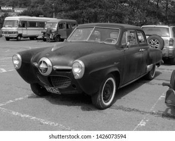 14th June 2019- A classic Studebaker Champion, built in 1950, in the public carpark at Pendine, Carmarthenshire, Wales, UK.