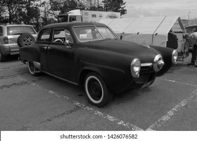 14th June 2019- An old Studebaker Champion saloon car, built in 1950, parked in the public carpark at Pendine, Carmarthenshire, Wales, UK.