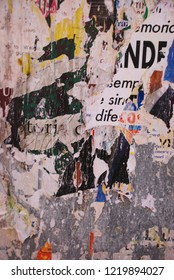 14th of May 2010 - Scene from Italian city with close uo of ripped posters, Brindisi, italy