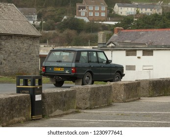 14th November 2018- A classic Range Rover being driven out of the public carpark at Pendine, Carmarthenshire, Wales, UK.