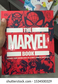 """14th October 2019, Shah Alam, Malaysia. Hand holding the famous """"Marvel"""" book. Marvel Comics is the brand name and primary imprint of Marvel Worldwide Inc."""