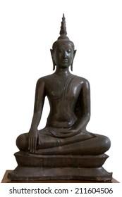 14th-15th Century A.D. an ancient buddha subduing mara, U-Thong style, Ayutthaya, Thailand.