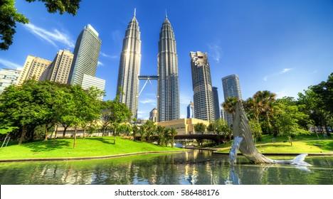 15 Apr 2015. Kuala Lumpur, Malaysia. The twin towers of Petronas. Central Park.