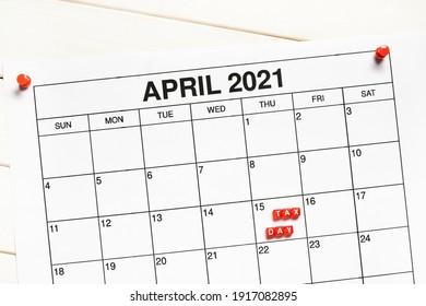 15 April 2021 Tax Day on calendar.