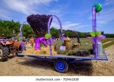15 Aug 2017. The feast of lavender in Sault, France, Provence.Decorations of the carts presented by the villages of region.
