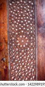 15 December 2018 - Manisa, Turkey -Decorative islamic wood art door background in Sultan Mosque, Manisa, Turkey