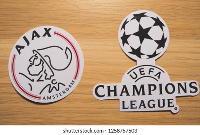 15 December 2018. Nyon Switzerland. The logo of the football club Ajax Amsterdam and UEFA Champions League.