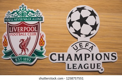 15 December 2018. Nyon Switzerland. The logo of the football club Liverpool F.C. and UEFA Champions League.