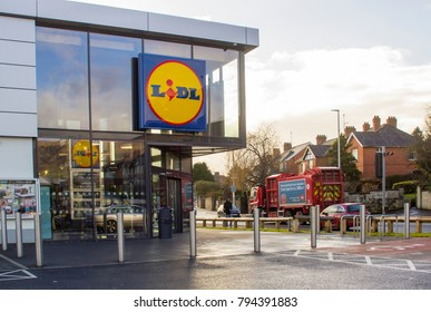 15 January 2018 The doorway and signage of a local LIDL's store in Anderson's town in Belfast Northern Ireland
