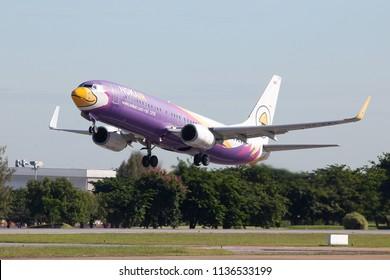 15 jul 2018 Bangkok Thailand : HS - DBA Nok air Boeing 737-800 was taking off from Don muang airport.