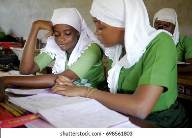 15 July 2015 - Accra, Ghana : Teenage schoolgirls in a classroom in Ghana, Africa