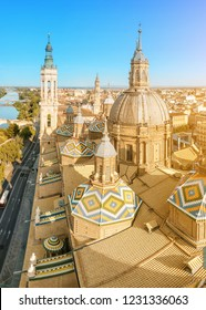 15 JULY 2018, ZARAGOZA, SPAIN: Aerial view on the city from the tower of Our Lady Pilar basilica and Ebro