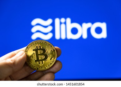 15 July 2019 , Bangkok Thailand people currently talking about value of bitcoin and Libra from Facebook cryptocurrency for digital marketing