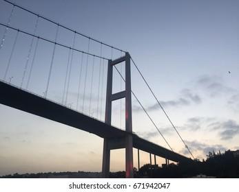 15 July martyr bridge on bosphorus sea of Istanbul, Turkey. July 3, 2017.