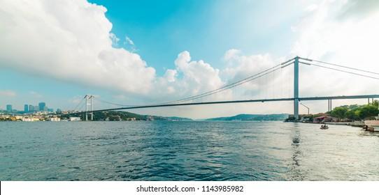 15 July Martyrs Bridge (Turkish: 15 Temmuz Sehitler Koprusu) with blue sky in Istanbul, Turkey. Istanbul Bosphorus Bridge.