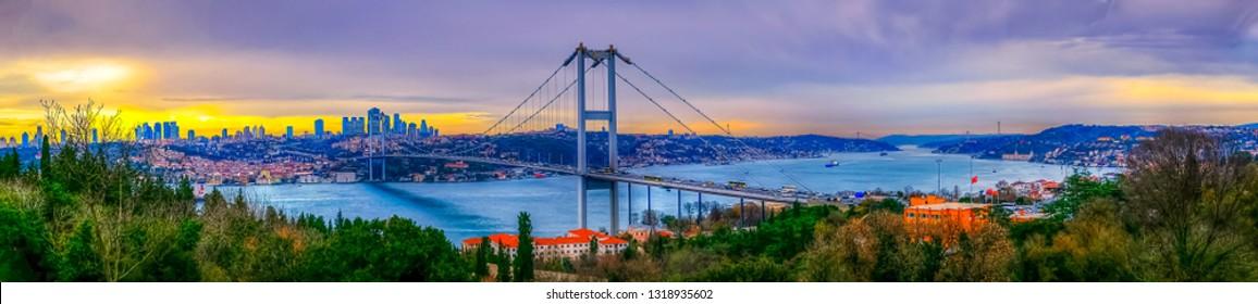 15 July Martyrs Bridge (Turkish: 15 Temmuz Sehitler Koprusu) Beautiful sunset in Istanbul, Turkey. Istanbul Bosphorus Bridge. Fatih Sultan Mehmet Bridge in Istanbul, Turkey.