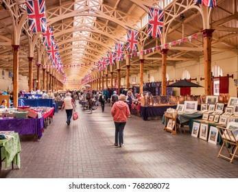 15 June 2017: Barnstaple, England, UK - The Pannier Market in Barnstaple, North Devon. This was built as a vegetable market in 1855-6, and is now used for a variety of market functions..