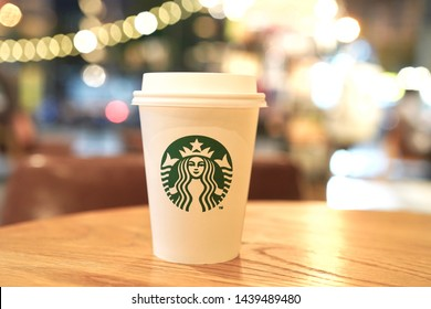15 June 2019; Bangkok Thailand: Background of Starbucks Hot Coffee Take Away Cup at Starbucks Cafe Coffee Shop.