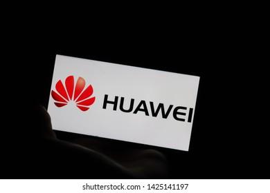 15 June, Leiden, Netherlands: Huawei p20 lite phone showing huawei logo and the word huawei.