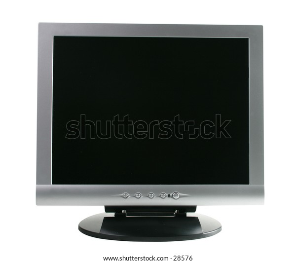 """15"""" LCD Display Full Frontal View. Contains clipping path"""