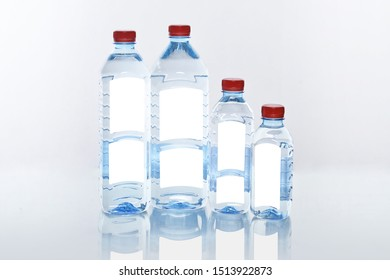 1,5 liters, 1 liters, 0.5 liters and 0.33 liters of mineral water blue