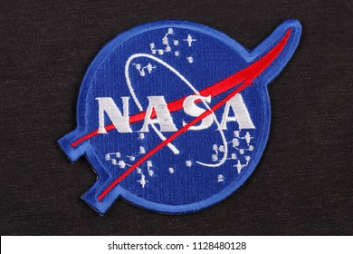 15 March 2018 - The National Aeronautics and Space Administration (NASA) emblem patch on black uniform background