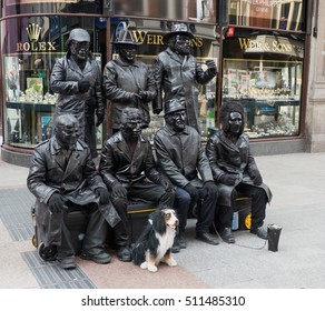 15 May 2016 in Grafton Street, Dublin. These street mime artists entertained a large crowd with their unusual routine. It is quite a feat  to sit still for so long.