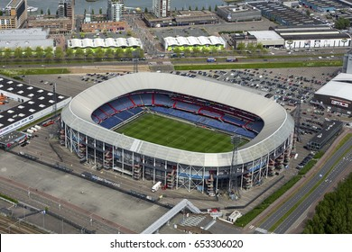 15 May 2017, Rotterdam, Holland. Aerial view of Feyenoord soccer stadium De Kuip.