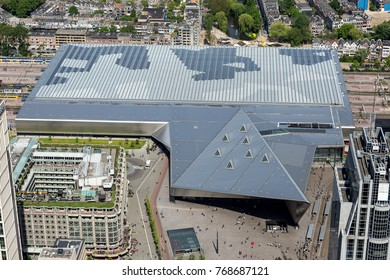 15 May 2017, Rotterdam, Holland. Aerial view of the Central Train Station NS in the center of the city. A modern building designed by a team of architects.