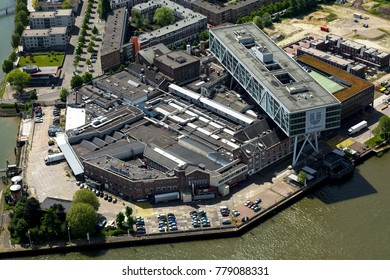 15 May 2017, Rotterdam, Holland. Aerial view of Blue Band margarine factory and on top of it De Brug, Dutch head office of the Unilever company