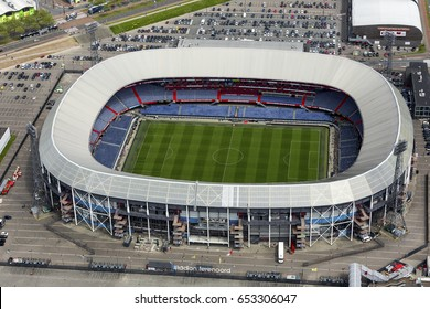 15 May 2017, Rotterdam, Netherlands. Aerial view of Feyenoord soccer stadium De Kuip.