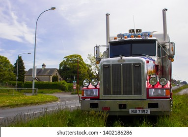 15 May 2019 A hugh Peterbilt articulated tractor cab used by an American Circus on tour iand parked up on a dual carriageway central reservation in Bangor County Down in Northern Ireland