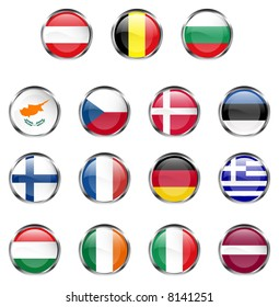 15 members of European Union flag buttons - JPEG version