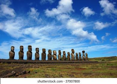 15 Moai at Ahu Tongariki, Easter Island, Chile