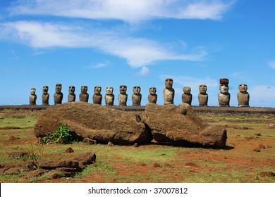 15 Moai and Sleeping Moai at Ahu Tongariki, Easter Island, Chile