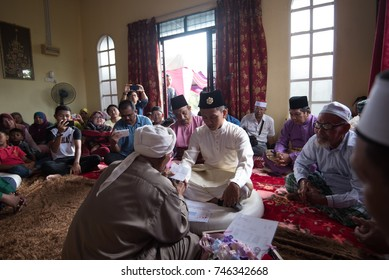 15 October 2017 - Terengganu, Malaysia - Traditional muslim malay wedding still been practised across the country. The bride must accept to take the groom as wife according to Islam law.
