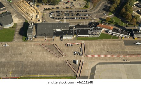15 October, Eelde, Holland. Aerial view of departure and arrival hall at Groningen Airport Eelde in The Netherlands.