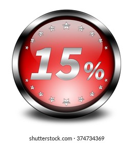 15 percent button isolated