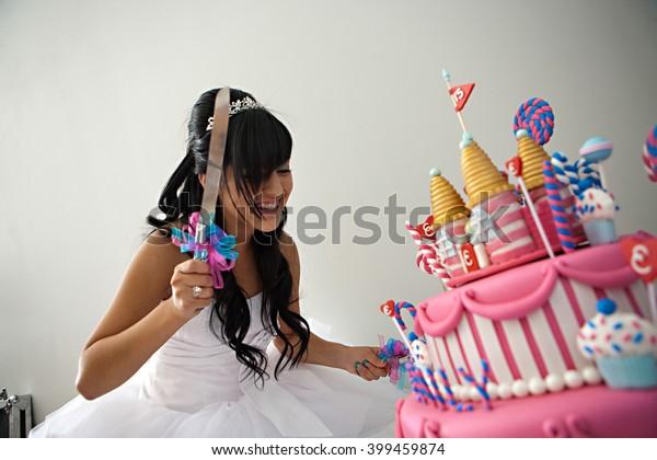 Awesome 15 Year Old Hispanic Girl Celebrates Stock Photo Edit Now 399459874 Funny Birthday Cards Online Fluifree Goldxyz