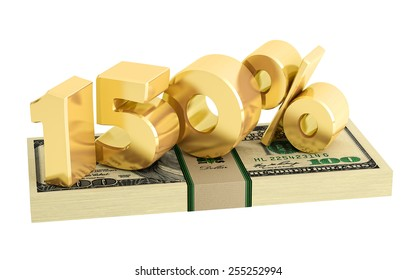 150% - savings - discount - interest rate - isolated on white