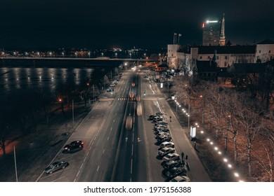 15-01-2021 Riga, Latvia embankment view from drone.