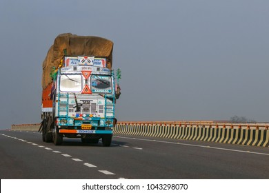 15.02.2017 - India, New Delhi: Front view of Indian truck  rides on the road