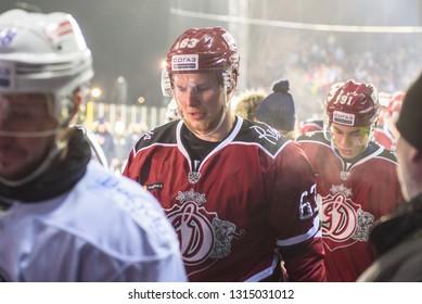 15.02.2019.  RIGA, LATVIA.  Kontinental Hockey League (KHL) 2018/2019 season game , Winter Ice Break 2019 Dinamo Riga vs. Dinamo Minsk